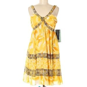 Jones Wear Day to Dinner Yellow Pattern Dress